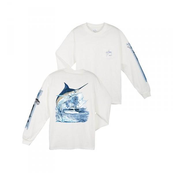 Guy Harvey Marlin Boat Long Sleeve Shirt